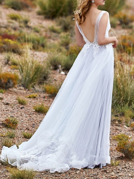 A-Line Wedding Dresses V Neck Sweep \ Brush Train Lace Tulle Sleeveless Beach Vintage Sexy Wedding Dress in Color See-Through Backless_2