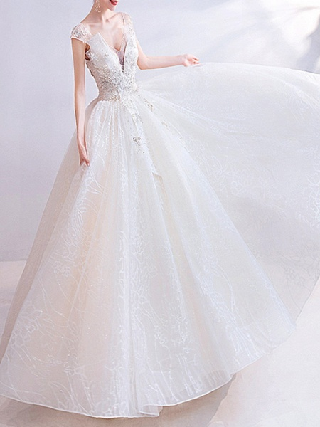 Ball Gown V Neck Floor Length Chiffon Tulle Short Sleeve Casual Illusion Detail Plus Size Wedding Dresses_1