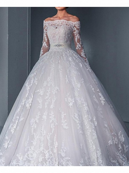 Ball Gown Wedding Dresses Off Shoulder Sweep \ Brush Train Lace Long Sleeve Glamorous See-Through Illusion Sleeve_3