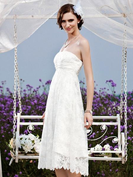 Princess A-Line Wedding Dresses Strapless Tea Length Lace Sleeveless Little White Dress_4