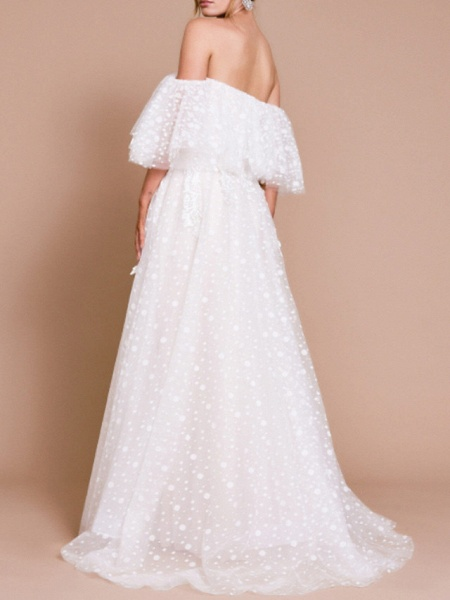 A-Line Wedding Dresses Off Shoulder Sweep \ Brush Train Tulle Half Sleeve Beach Sexy Wedding Dress in Color Backless_2