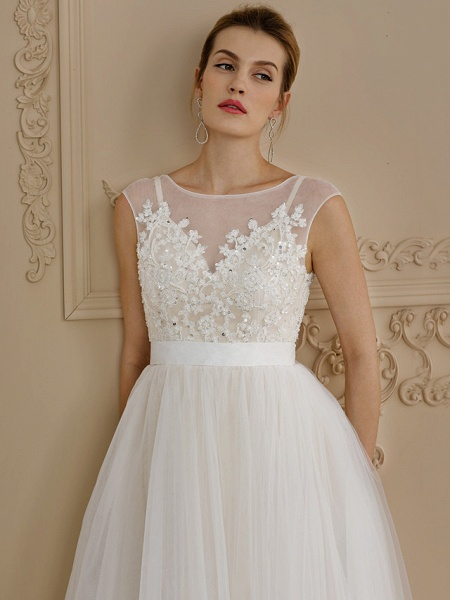 A-Line Wedding Dresses Jewel Neck Sweep \ Brush Train Beaded Lace Cap Sleeve Romantic Plus Size Backless_4