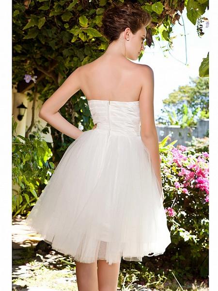 Ball Gown Wedding Dresses Sweetheart Neckline Knee Length Taffeta Tulle Strapless See-Through_6
