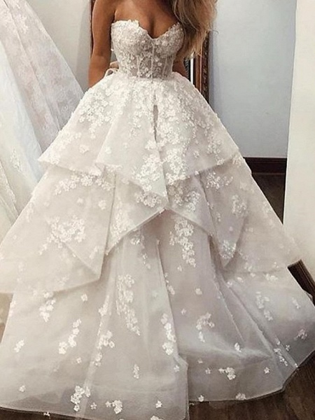 Ball Gown A-Line Strapless Sweep \ Brush Train Lace Tulle Sleeveless Country Wedding Dresses_3