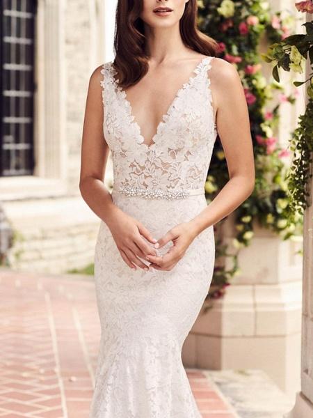 Mermaid \ Trumpet Wedding Dresses V Neck Court Train Lace Regular Straps_2