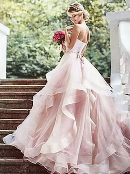 Ball Gown Wedding Dresses Strapless Court Train Lace Tulle Strapless Sexy Wedding Dress in Color Plus Size_4