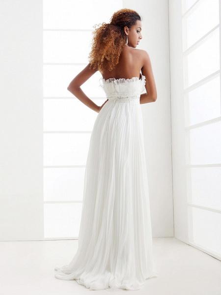 Sheath \ Column Wedding Dresses Scalloped-Edge Sweep \ Brush Train Chiffon Sleeveless_7