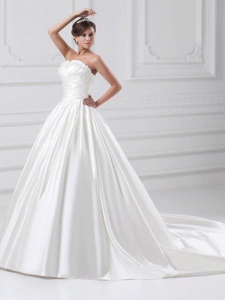 Ball Gown Wedding Dresses Strapless Court Train Satin Strapless Plus Size_2