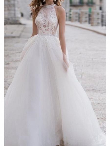 A-Line Wedding Dresses Halter Neck Asymmetrical Lace Tulle Regular Straps Boho_1