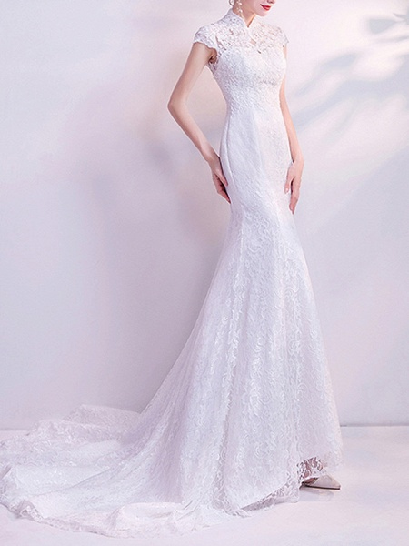 Mermaid \ Trumpet Wedding Dresses High Neck Court Train Chiffon Tulle Cap Sleeve Formal Illusion Detail Plus Size_2