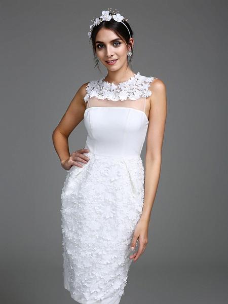 Sheath \ Column Wedding Dresses Jewel Neck Short \ Mini Chiffon Regular Straps Romantic Casual See-Through Plus Size Backless_5