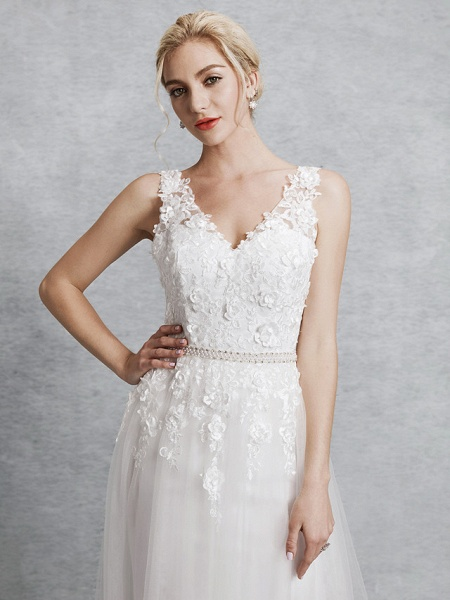 A-Line Wedding Dresses V Neck Court Train Lace Satin Tulle Regular Straps Romantic Illusion Detail Backless_5