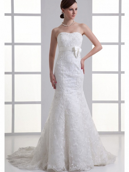 Mermaid \ Trumpet Sweetheart Neckline Chapel Train Lace Satin Strapless Wedding Dresses_1