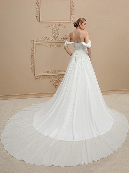 Princess A-Line Wedding Dresses Strapless Cathedral Train Chiffon Sleeveless Open Back_2
