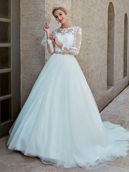 Ball Gown Wedding Dresses Bateau Neck Chapel Train Lace Tulle Long Sleeve Beautiful Back Illusion Sleeve_9