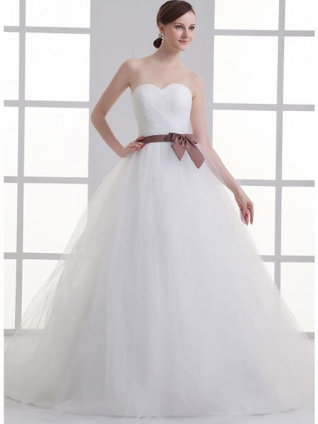 A-Line Wedding Dresses Sweetheart Neckline Court Train Lace Satin Tulle Strapless_1