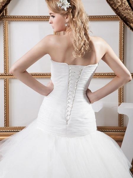 Mermaid \ Trumpet Sweetheart Neckline Court Train Satin Tulle Strapless Sexy Wedding Dresses_5