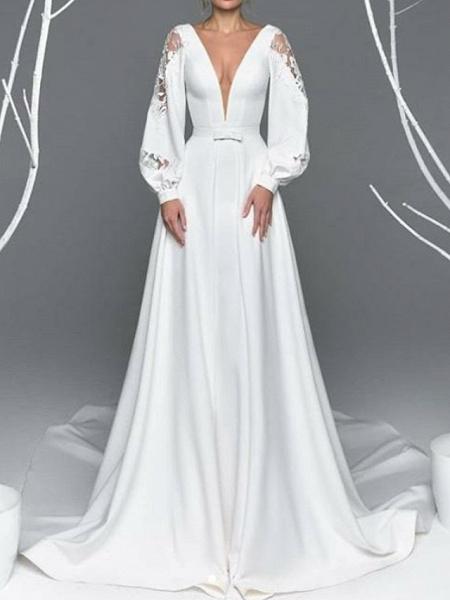 A-Line Wedding Dresses V Neck Court Train Satin Long Sleeve Simple Illusion Detail_1