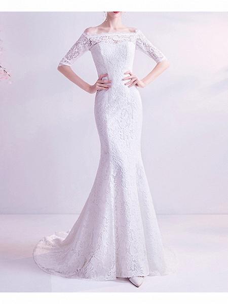 Mermaid \ Trumpet Wedding Dresses Off Shoulder Court Train Chiffon Tulle Half Sleeve Formal Illusion Detail Plus Size_4
