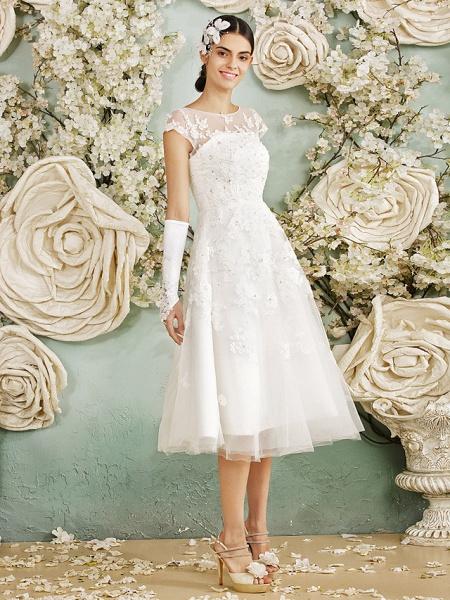 A-Line Wedding Dresses Scoop Neck Tea Length Lace Over Tulle Cap Sleeve Vintage Little White Dress Illusion Detail 1950s_9