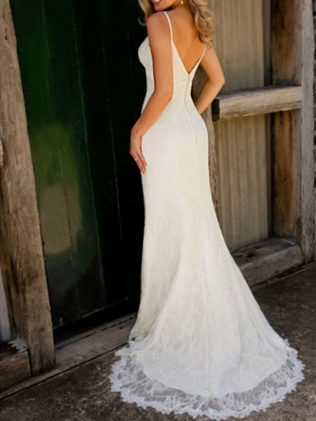 Mermaid \ Trumpet Wedding Dresses V Neck Spaghetti Strap Sweep \ Brush Train Lace Sleeveless Simple Sexy_2