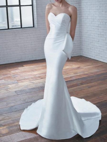 Mermaid \ Trumpet Wedding Dresses Sweetheart Neckline Court Train Stretch Satin Strapless Modern Elegant_1