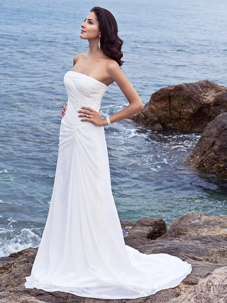 Sheath \ Column Wedding Dresses Strapless Court Train Chiffon Strapless Beach Plus Size_3