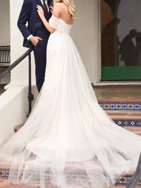 A-Line Wedding Dresses Off Shoulder Court Train Lace Satin Tulle Short Sleeve Formal_3