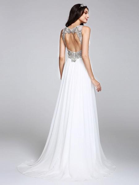 A-Line Wedding Dresses V Neck Sweep \ Brush Train Chiffon Regular Straps Country Romantic Glamorous Sparkle & Shine Plus Size Backless_2