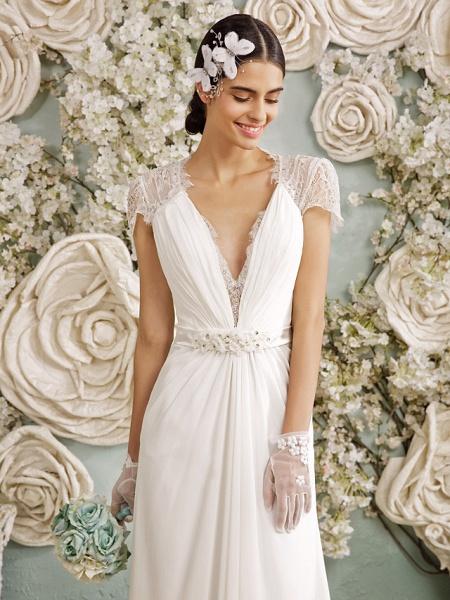 Sheath \ Column Wedding Dresses V Neck Sweep \ Brush Train Chiffon Sheer Lace Short Sleeve Casual Vintage See-Through Plus Size Backless_6
