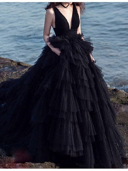 Lt7893721 V-neck Tulle A-line Black Wedding Dress_1