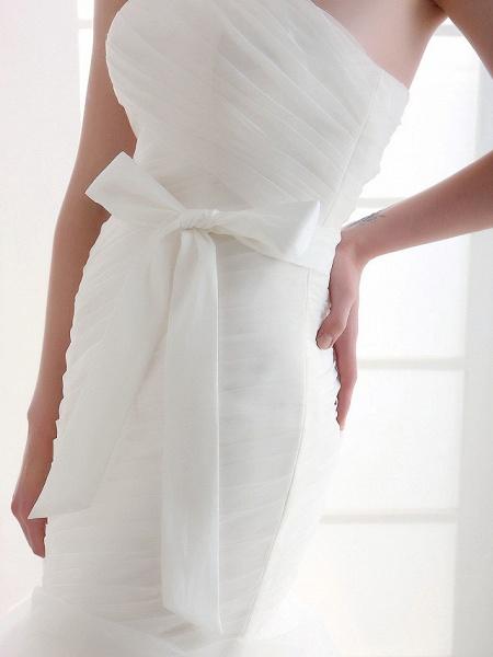 Mermaid \ Trumpet Wedding Dresses Strapless Court Train Organza Satin Sleeveless_8