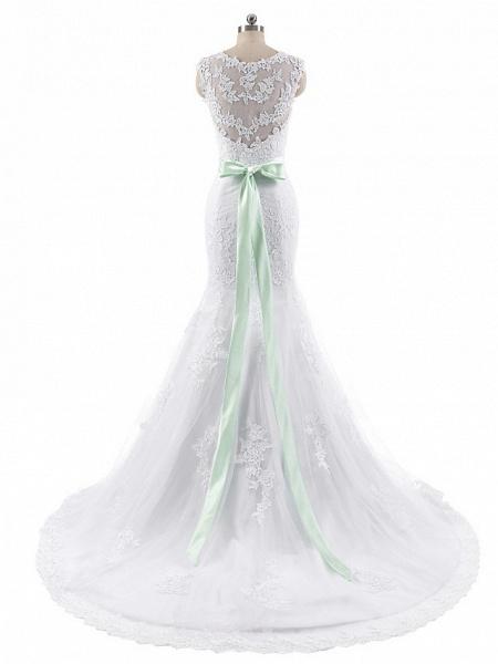 Mermaid \ Trumpet Wedding Dresses Jewel Neck Court Train Lace Tulle Cap Sleeve_6