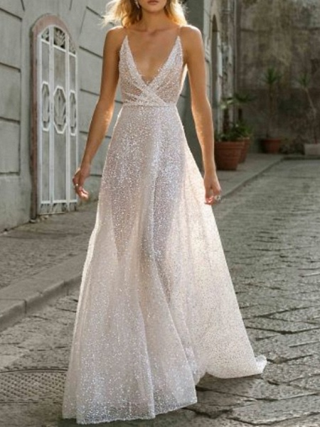 A-Line Wedding Dresses V Neck Sweep \ Brush Train Tulle Spaghetti Strap Boho Plus Size_1
