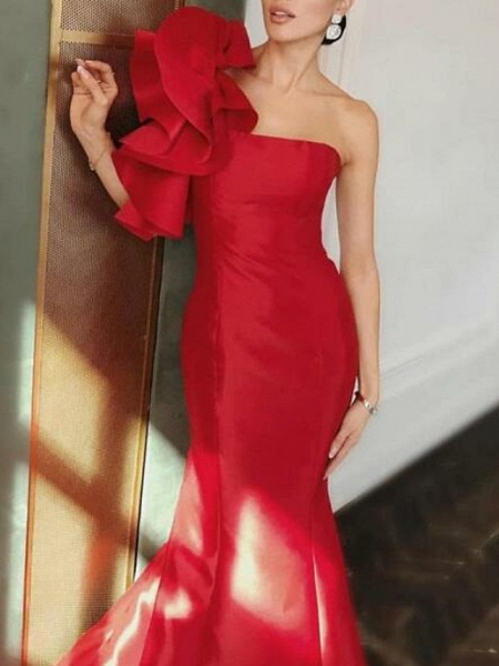 Mermaid \ Trumpet Floral Red Engagement Formal Evening Dress One Shoulder Sleeveless Court Train Satin_2