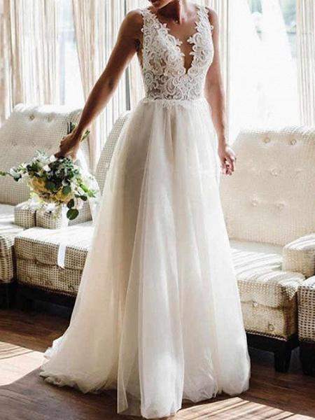 Lt8036472 V-neck A-line Romantic Bohemian Wedding Dresses 2021_1