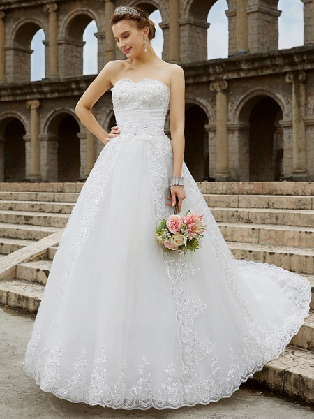Ball Gown Wedding Dresses Strapless Sweep \ Brush Train Tulle Glitter Lace Strapless Country Sparkle & Shine Backless_1