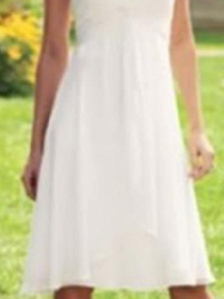 A-Line Wedding Dresses Scoop Neck Knee Length Chiffon Taffeta Sleeveless Country Plus Size_3