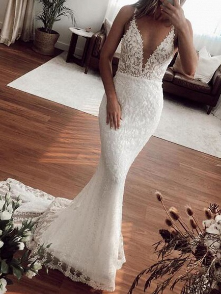 Mermaid \ Trumpet Plunging Neck Sweep \ Brush Train Lace Tulle Sleeveless Country Plus Size Wedding Dresses_2