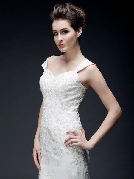 Mermaid \ Trumpet Off Shoulder Sweetheart Neckline Sweep \ Brush Train Organza Satin Short Sleeve Wedding Dresses_5