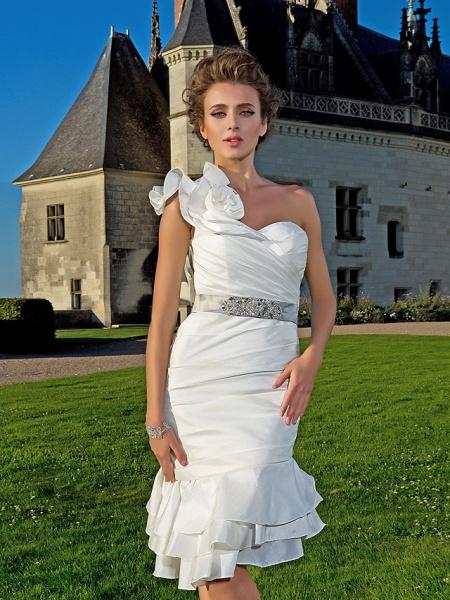 Sheath \ Column Wedding Dresses One Shoulder Asymmetrical Knee Length Taffeta Sleeveless Little White Dress_5