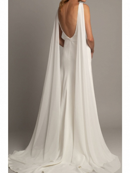 A-Line Wedding Dresses V Neck Court Train Tulle Stretch Satin Regular Straps Cape_2