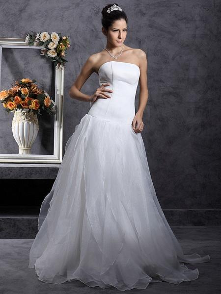 Princess A-Line Wedding Dresses Strapless Organza Satin Sleeveless_3