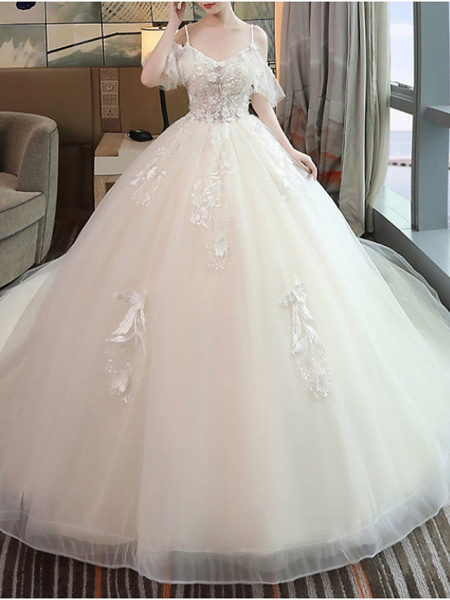 A-Line Wedding Dresses V Neck Floor Length Lace Tulle Sleeveless Casual Beach Plus Size_2