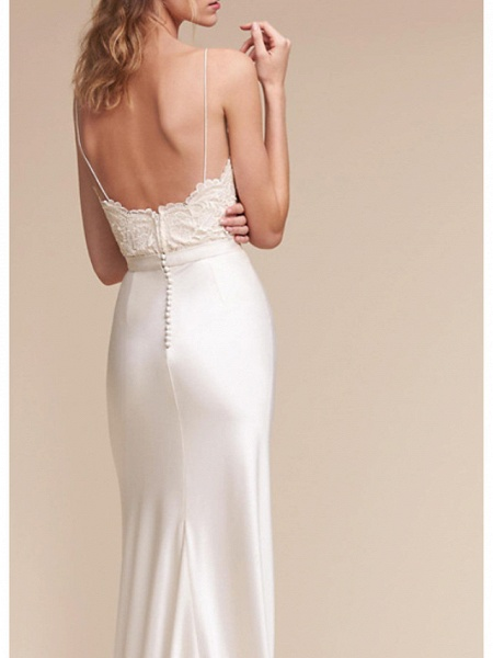 Sheath \ Column Wedding Dresses V Neck Sweep \ Brush Train Satin Cap Sleeve Formal Plus Size_2