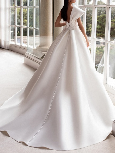 A-Line Wedding Dresses One Shoulder Sweep \ Brush Train Satin Short Sleeve Plus Size Modern_2
