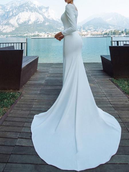 Mermaid \ Trumpet Wedding Dresses Scoop Neck Sweep \ Brush Train Chiffon Over Satin Long Sleeve Country Plus Size_2