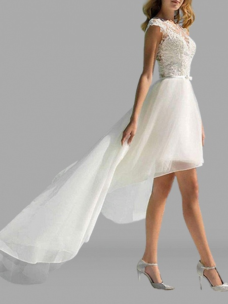 A-Line Wedding Dresses Jewel Neck Sweep \ Brush Train Asymmetrical Lace Tulle Sleeveless Sexy See-Through_3