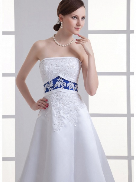 A-Line Strapless Court Train Lace Satin Strapless Wedding Dresses_5