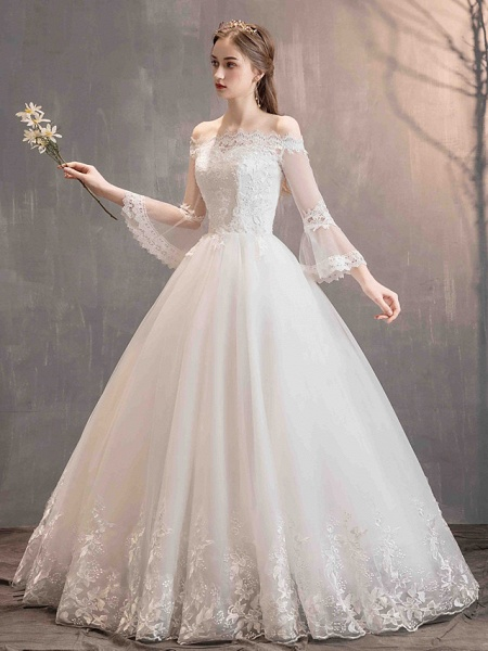 Ball Gown Wedding Dresses Off Shoulder Floor Length Lace Tulle Long Sleeve Romantic Illusion Sleeve_5